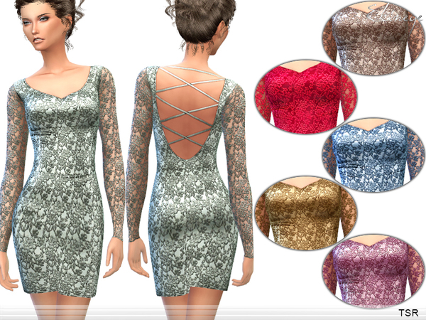 Sims 4 Lattice Back Lace Dress by ekinege at TSR