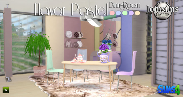 Sims 4 Flavor Pastel diningroom at Jomsims Creations