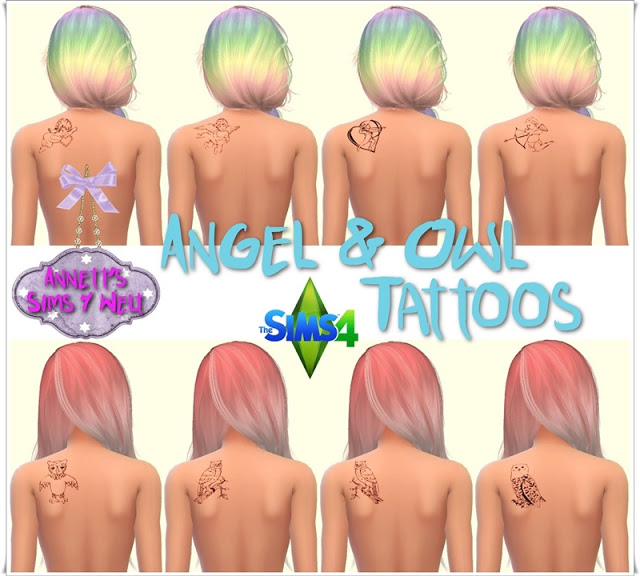 Sims 4 Angel & Owl Tattoos at Annett's Sims 4 Welt