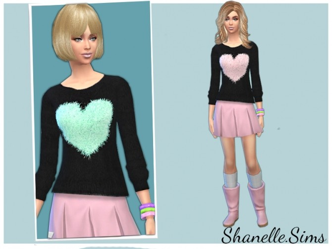 Sims 4 Fluffy Heart Knit at Shanelle Sims