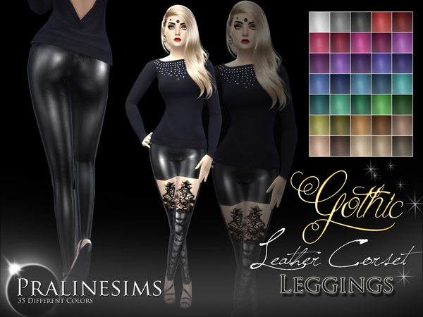 Sims 4 Gothic Leather Corset Leggins by Pralinesims at TSR