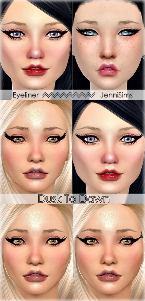 Sims 4 Eyeliner Dusk To Dawn (5 Styles) at Jenni Sims