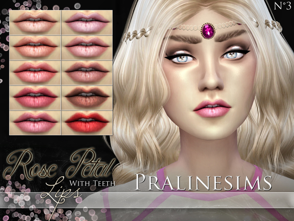 Sims 4 Rose Petal Lips WITH TEETH by Pralinesims at TSR
