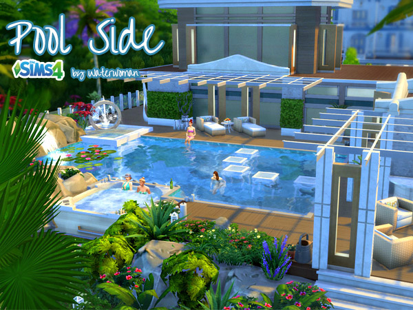 Pool side house by waterwoman at akisima sims 4 updates for Pool designs sims 4
