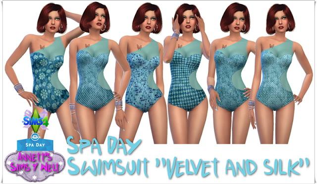 Sims 4 Spa Day Swimsuit Velvet & Silk at Annett's Sims 4 Welt