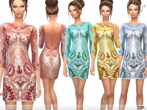 Sims 4 Floral Sequined Mini Dress by ekinege at TSR