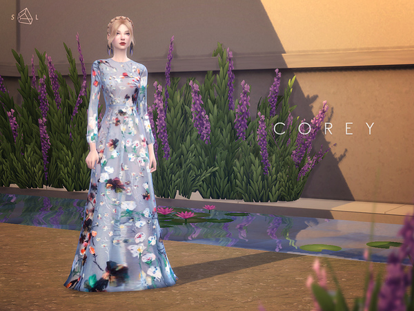 Sims 4 Floral Gown COREY by starlord at TSR