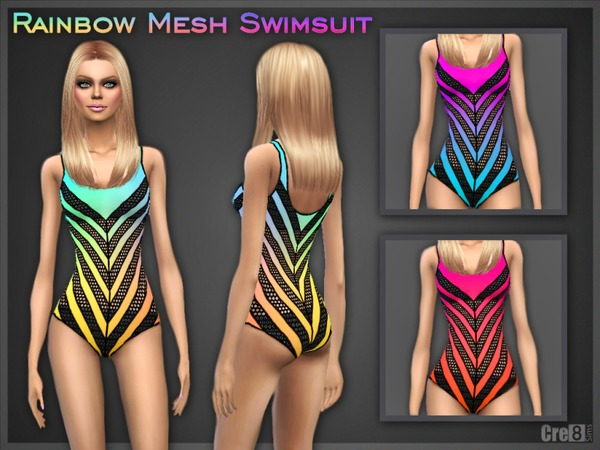 Sims 4 Rainbow Mesh Swimsuit by Cre8Sims at TSR