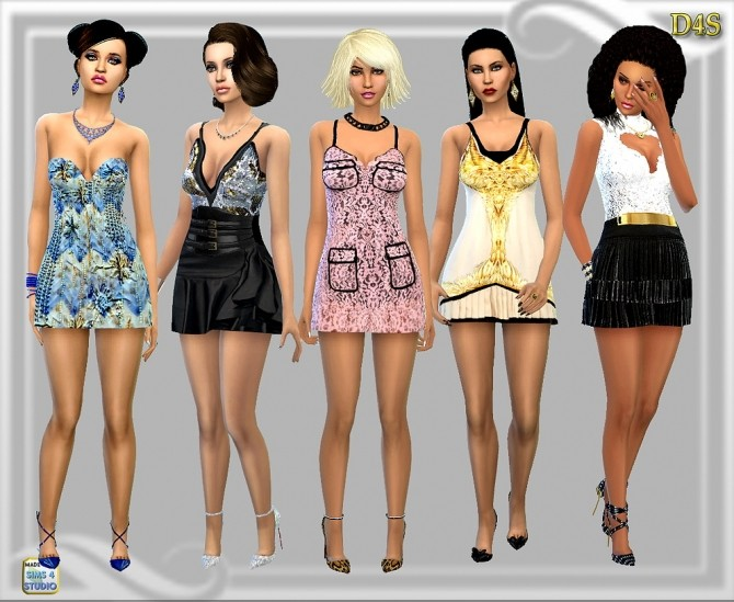 Sims 4 AnneBell 5 dresses set at Dreaming 4 Sims