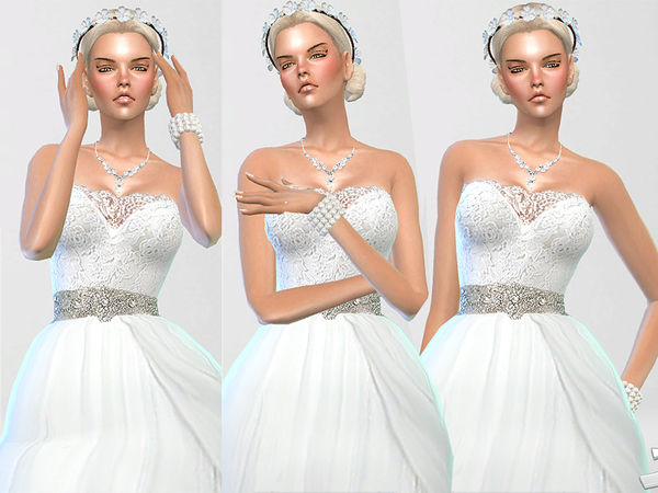 Sims 4 Wedding Dress Endless Elegance by Pinkzombiecupcakes at TSR