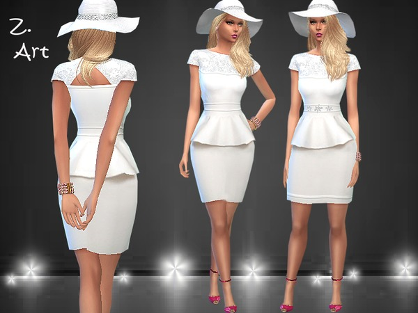 Sims 4 White Nobleness dress by Zuckerschnute20 at TSR