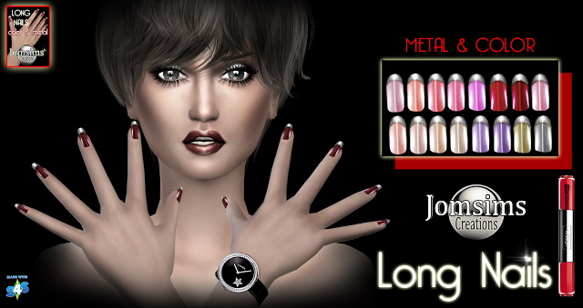 Very long strass and french nails at Jomsims Creations image 1587 Sims 4 Updates