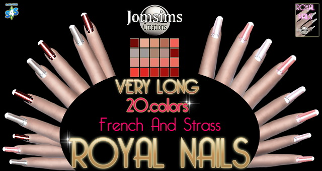 Very long strass and french nails at Jomsims Creations image 1598 Sims 4 Updates