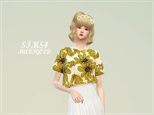Boxy crop top at Marigold image 1599 Sims 4 Updates