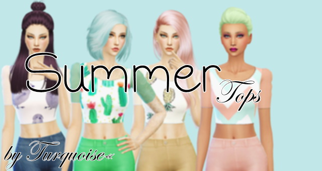 Sims 4 Summer Tops by Turquoise at Sims Fans