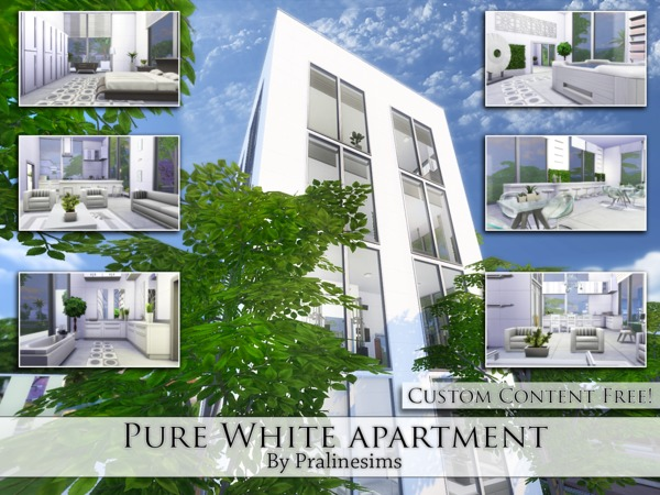 Pure White Apartment by Pralinesims at TSR image 1648 Sims 4 Updates
