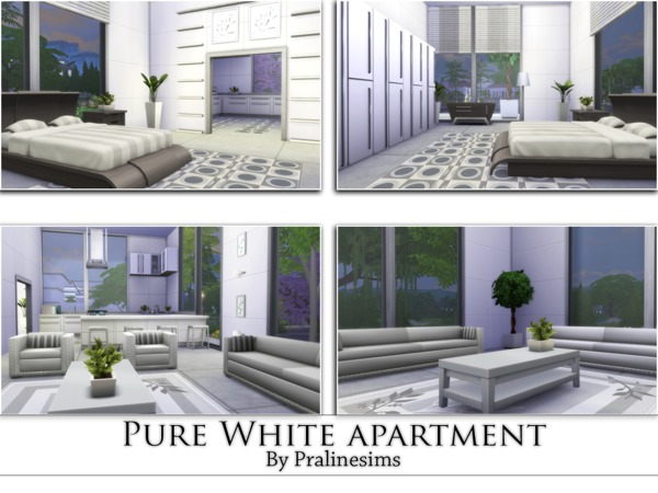 Pure White Apartment by Pralinesims at TSR image 1668 Sims 4 Updates