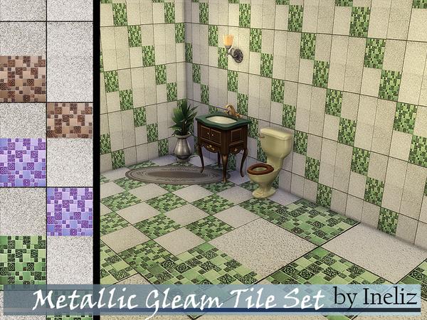 Sims 4 Metallic Gleam Tile Set by Ineliz at TSR