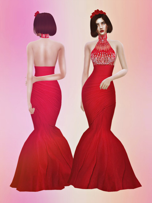 Sims 4 ZM Crimson Gown at Fashion Royalty Sims