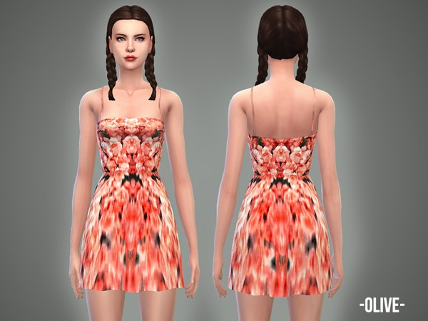 Sims 4 Olive dress by April at TSR