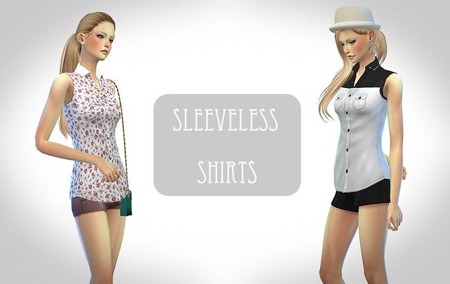 Sims 4 Sleeveless shirt at ChiisSims – Chocolatte Sims