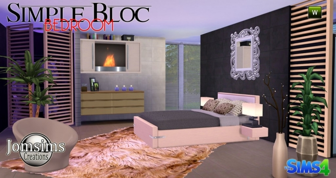 Simple bloc bedroom at jomsims creations sims 4 updates for Sims 4 meuble a telecharger