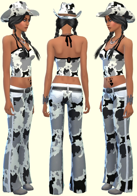 Sims 4 Jeans & Tops & Slips & Hat Cowgirl at Annett's Sims 4 Welt