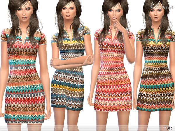 Sims 4 Zig Zag Pattern Knit Dress by ekinege at TSR