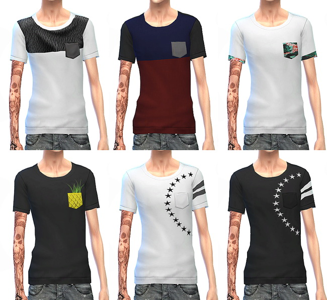 Chest pocket t shirt at ChiisSims – Chocolatte Sims image 1845 Sims 4 Updates
