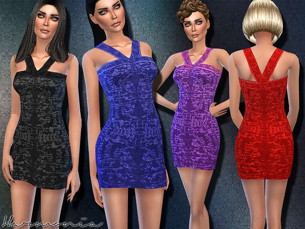 Sims 4 Knitted Applique Bodice Dress by Harmonia at TSR