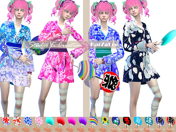 Japanese Yukata   Aizome at Studio K Creation image 18611 Sims 4 Updates