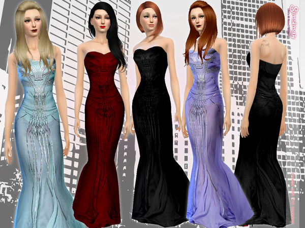 Sims 4 SAAB Beaded Gown by Simsimay at TSR