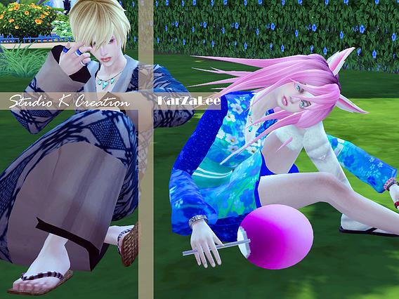 Japanese Yukata   Aizome at Studio K Creation image 18711 Sims 4 Updates