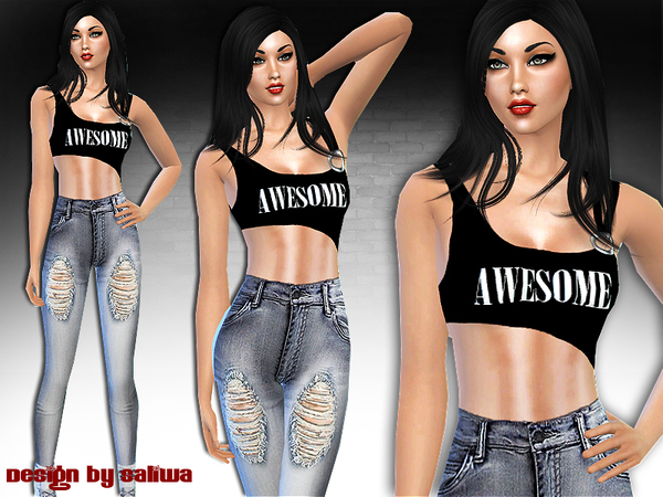 Awesome full outfit by saliwa at tsr sims 4 updates for Awesome sims