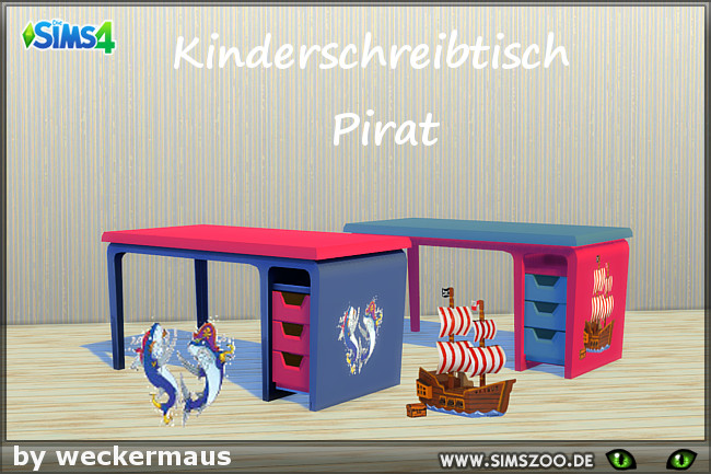 Sims 4 Pirate desk by weckermaus at Blacky's Sims Zoo