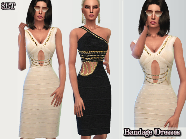 Sims 4 Classy Bandage Dresses by Puresim at TSR