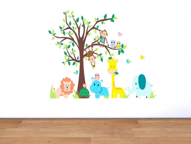 Sims 4 Wall stickers and kids rugs at Akai Sims