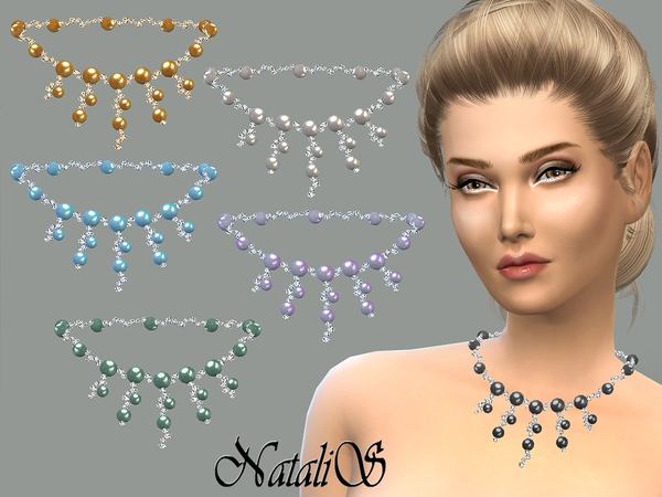 Sims 4 Cascade of crystal and pearl necklace by NataliS at TSR