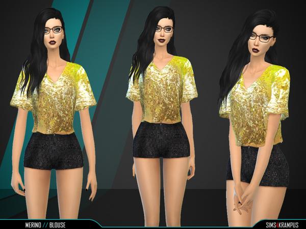 Sims 4 Merino Blouse by SIms4Krampus at TSR