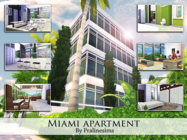 Sims 4 Miami Apartment by Pralinesims at TSR