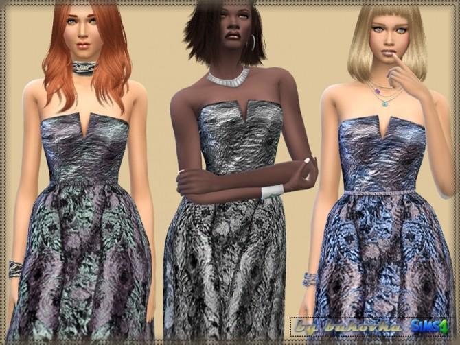 Sims 4 Brocade Dress by bukovka at TSR