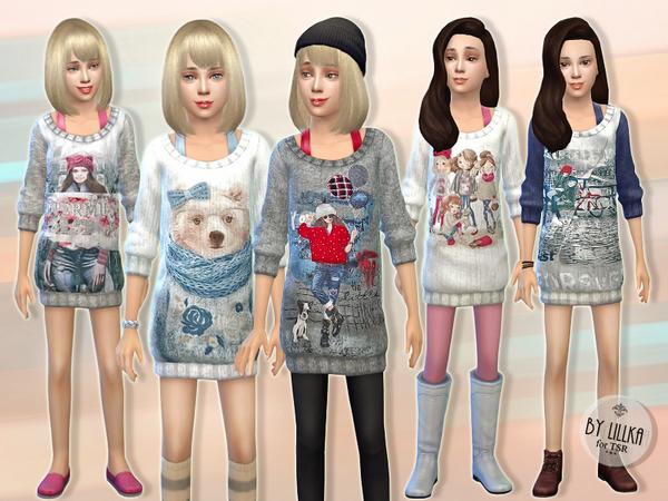 Sims 4 Casual Knit Dress by lillka at TSR