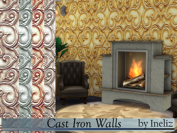 Sims 4 Cast Iron Walls by Ineliz at TSR