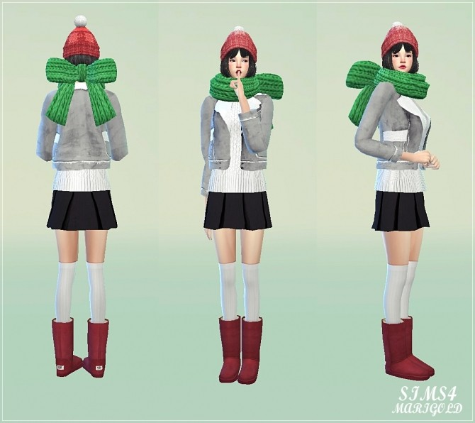 Ribbon knit muffler at Marigold image 244 670x596 Sims 4 Updates
