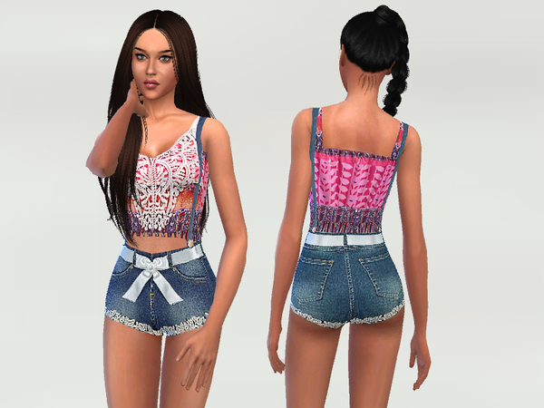 Sims 4 Lace and Denim Bodysuit by Puresim at TSR