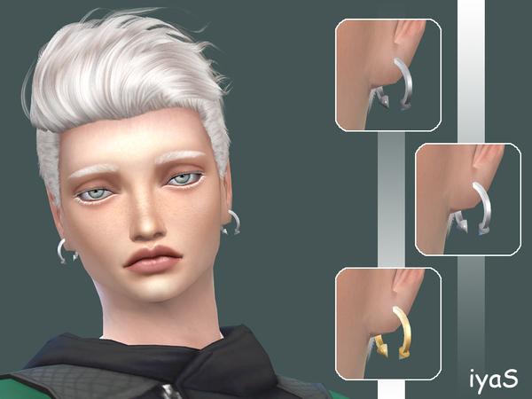 Sims 4 Spiked Hoop Male earrings by Soloriya at TSR