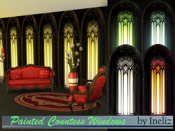 Sims 4 Painted Countess Windows by Ineliz at TSR