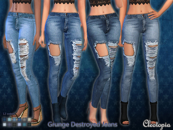 Sims 4 Grunge Destroyed Jeans by Cleotopia at TSR