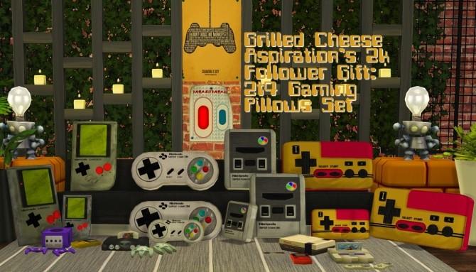 Sims 4 Gaming pillows set at Grilled Cheese Aspiration