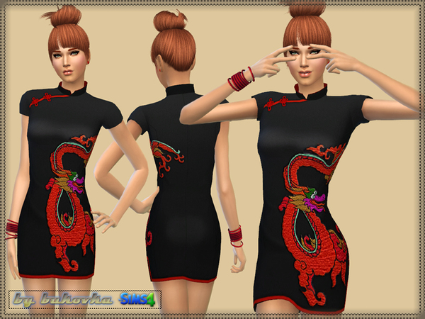 Sims 4 Dress Dragon by bukovka at TSR